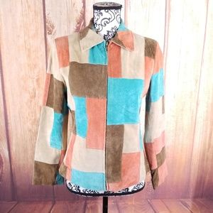 Suedessence Color Block Leather Suede Jacket B62